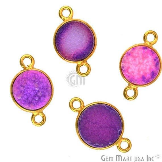 Color Druzy 8mm Round Bezel Gold Gemstone Connector (Pick Your Color)