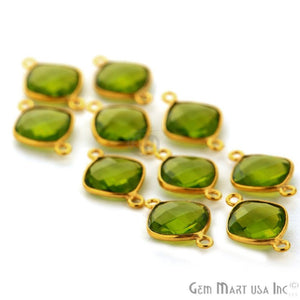 Cushion 18mm Gold Plated Bail Bezel Gemstone Connector (Pick Your Gemstone)