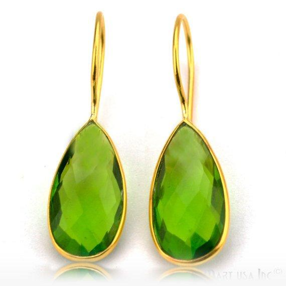 Gold Plated Pears 11x37mm Gemstone Dangle Hook Earring 1Pair (Pick Your Stone)