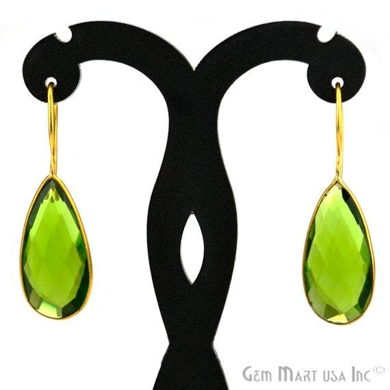 Pear Shape 12x25mm Gold Plated Gemstone Hook Earrings (Pick your Gemstone) (90005-1)