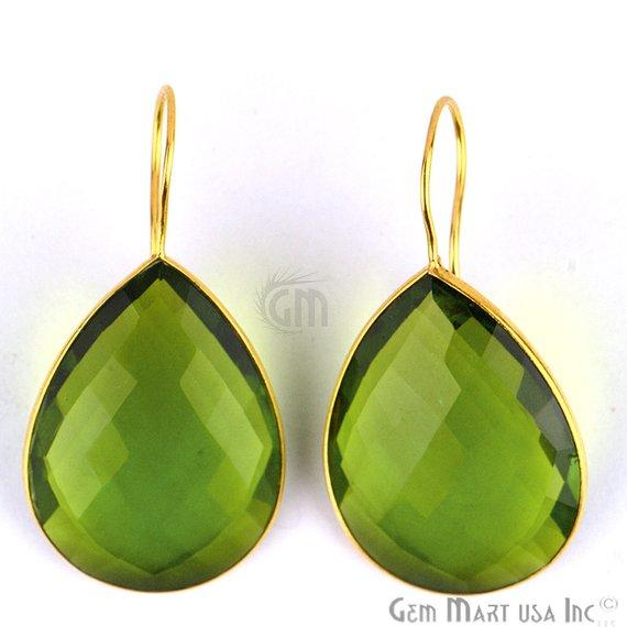 Peridot Bezel Pears shape 23x46mm Gold Plated Gemstone Dangle Hook Earring (PHER-90052)