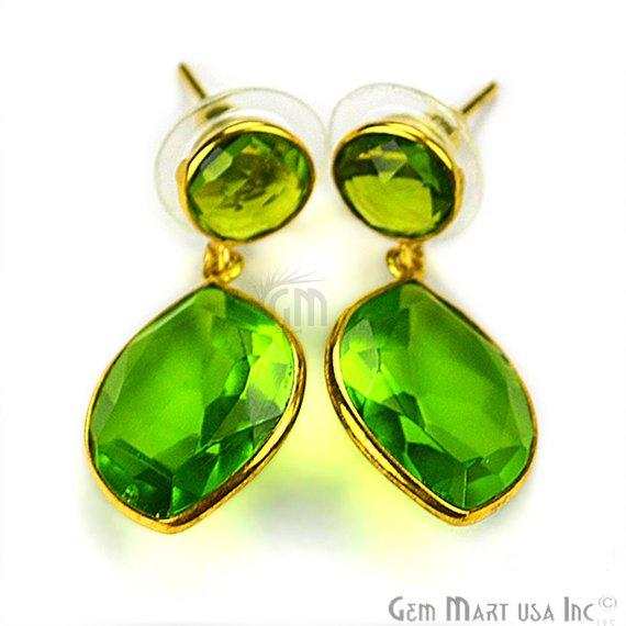 Gold Plated Pears & Round 31x15mm Gemstone Dangle Stud Earring 1Pair (Pick Your Stone)