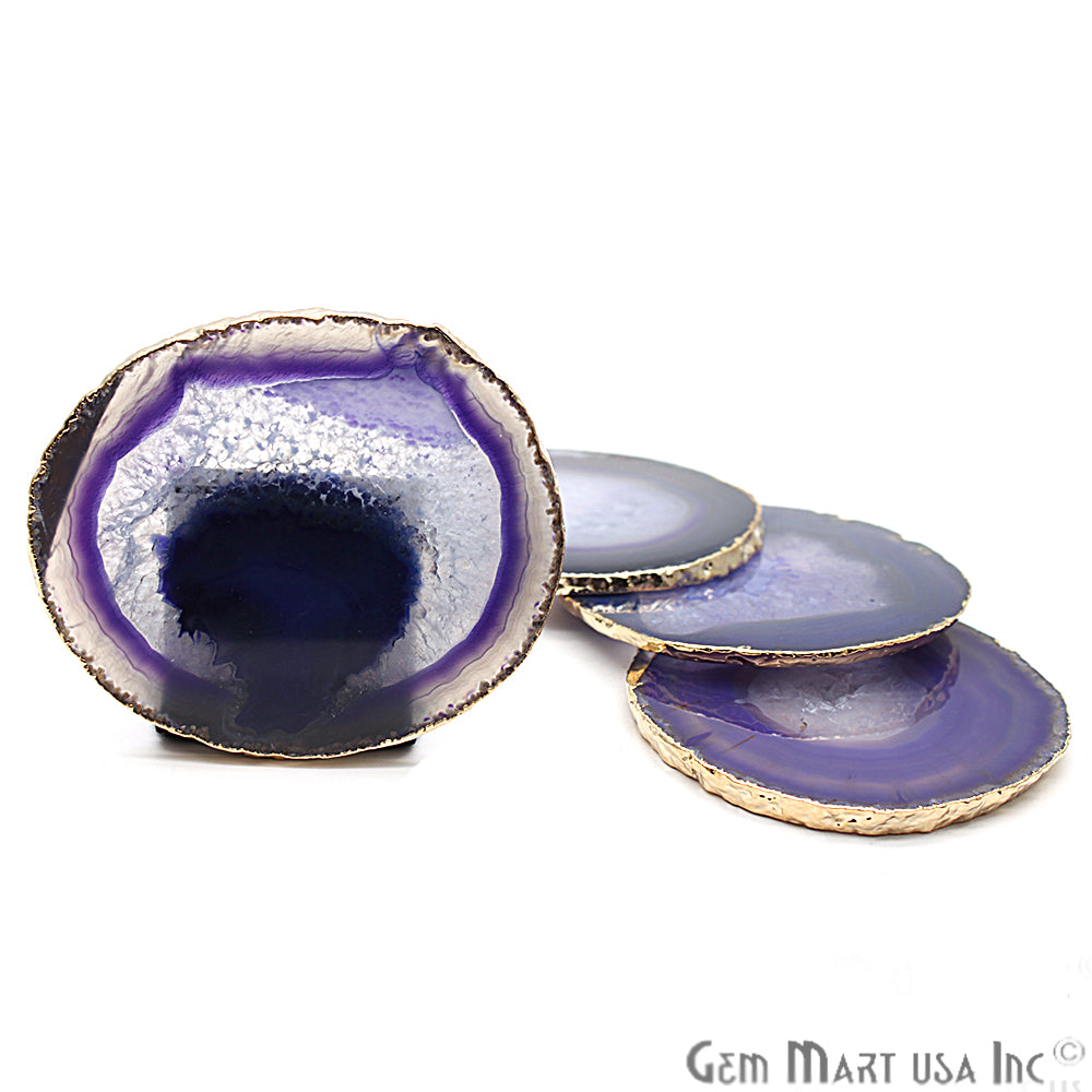 Purple Coaster, Agate Coaster, Coaster Set, Drinkware, Rock Coaster, Agate Slice, Drink Coasters (PPCO-58018)