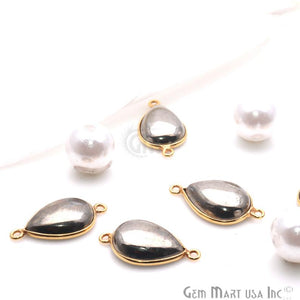 Pyrite Cabochon 12x16mm Pear Shape Gold Plated Bezel Gemstone Connector - GemMartUSA