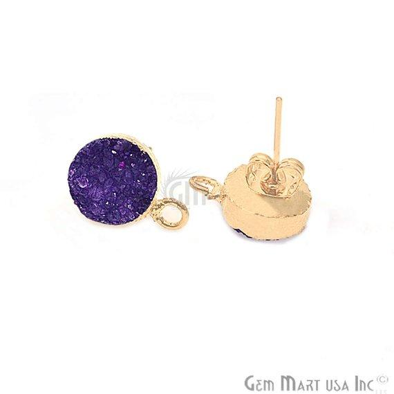 Round Shape 10mm Gold Plated Loop Connector Druzy Stud Earrings 1Pair (Pick your Gemstone)