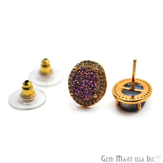 Oval Shape 8x10mm Gold Plated Cubic Zircon Druzy Stud Earrings (Pick your Gemstone) (90033-1)