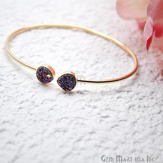 Gold Plated 8mm Heart Druzy Adjustable Bangle Bracelets (Pick your Gemstone)