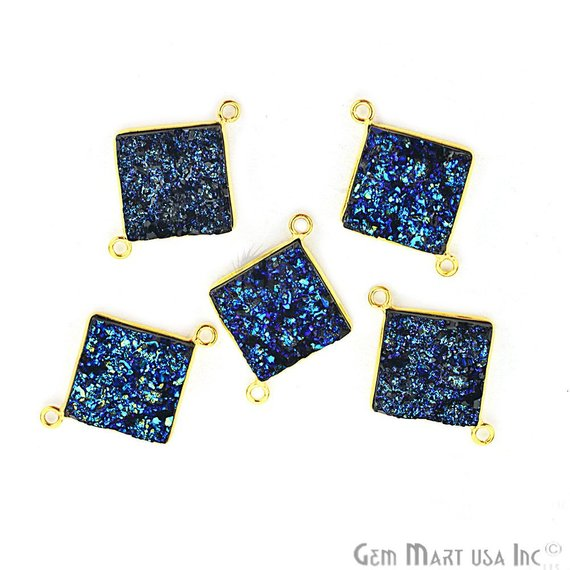 Blue Synthetic Faux Druzy 14mm Square Shape Bezel Gemstone Connector (Plating)