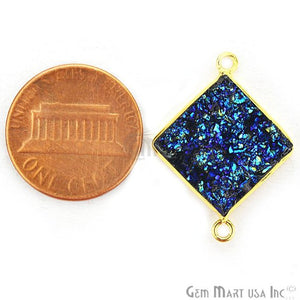 Blue Synthetic Faux Druzy 14mm Square Bezel Gemstone Connector (Plating)