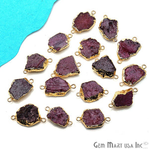 Rough Ruby Gemstone 26X12mm Gold Edged Bracelets Charm Connectors
