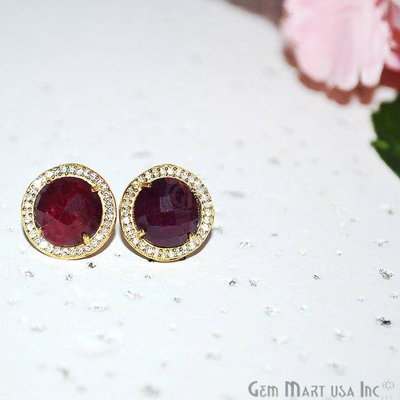 CZ Pave Round 10mm Gold Plated Gemstone Stud Earring Choose Your Gemstone (90037-1)