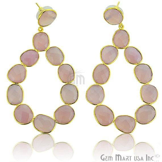 Component 77x40mm Gold Plated Gemstone Dangle Stud Earrings (Pick your Gemstone) (90035-1)