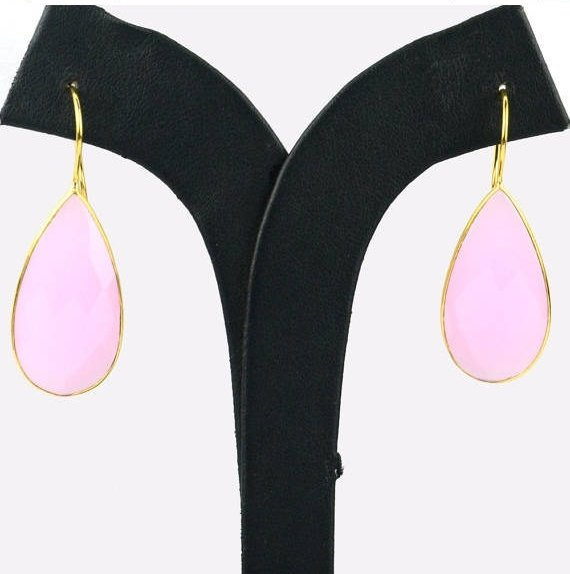 Gold Plated Pears Shape 33x16mm Gemstone Dangle Hook Earrings Choose Your Gemstone (90086-1)
