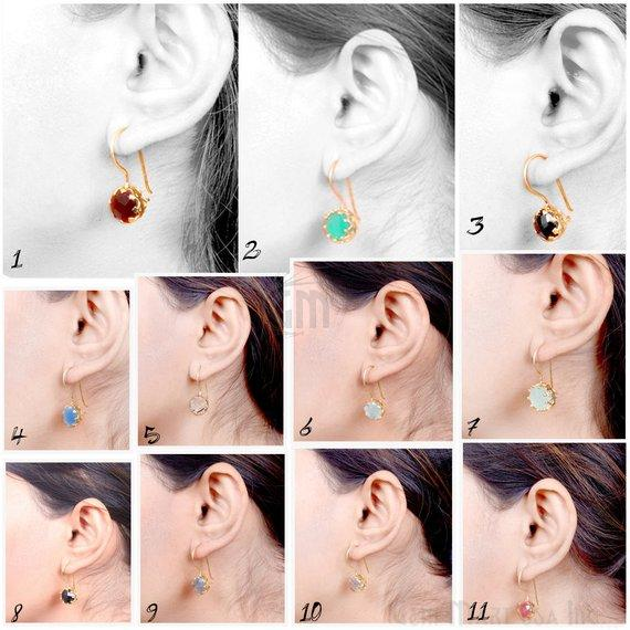 Gold Plated Round Shape 27x10mm Gemstone Dangle Hook Earring Choose Your Style (90149-1)