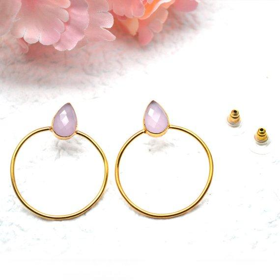 Pear Shape 8x12mm Gold Plated Gemstone Loop Stud Earrings 1 Pair (Pick your Gemstone)
