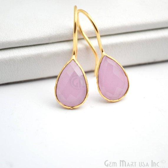 Rose Chalcedony Gold Plated 12x8mm Pears Shape Gemstone Dangle Hook Earring (RCER-90206)