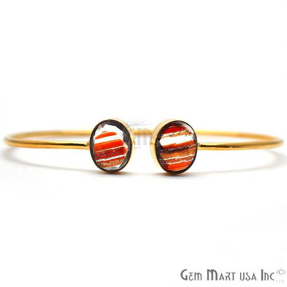Red Copper Infused 10x12mm Oval Shape Gold Plated Handmade Adjustable Bangle Bracelet (RIBA-19046)