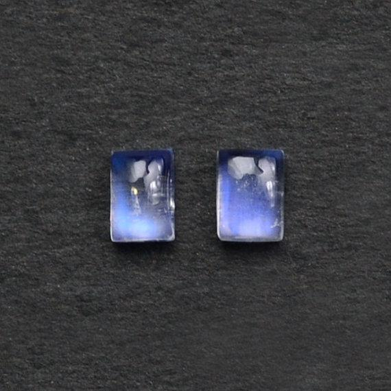 2 Pcs Lot Of AAA Quality Natural Rainbow Moonstone Blue Flash Cabochon, 7x5mm Loose Gemstone (RM-60004)