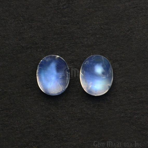 2 Pc Lot AAA Quality Natural Rainbow Moonstone Blue Flash Cabochon, 8x10mm Loose Gemstone (RM-60009)
