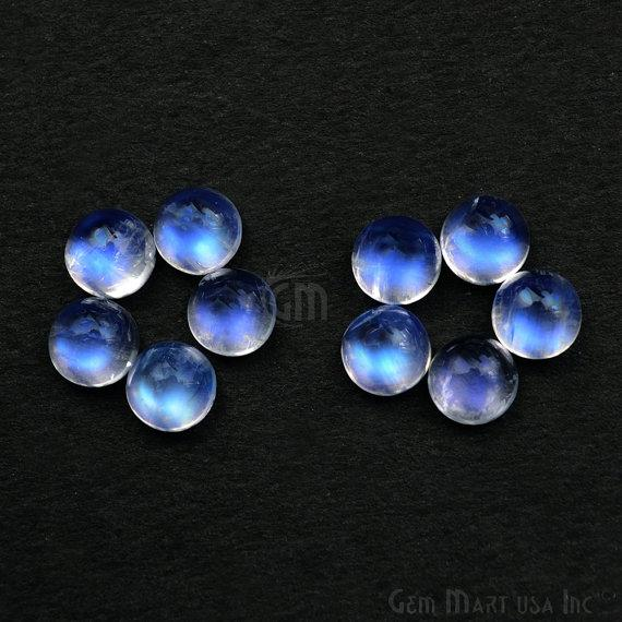 5 Pcs Lot Of AAA Quality Natural Rainbow Moonstone Blue Flash Cabochon, 6mm Loose Gemstone (RM-60027)