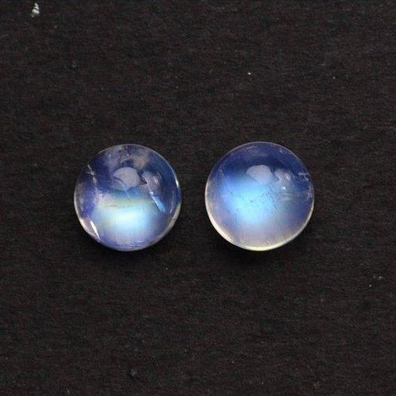 2 Pcs Lot Of AAA Quality Natural Rainbow Moonstone Blue Flash Cabochon, 10mm Loose Gemstone (RM-60031)