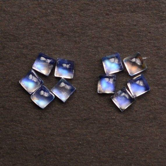 5 Pcs Lot Of AAA Quality Natural Rainbow Moonstone Blue Flash Cabochon, 5mm Loose Gemstone (RM-60035)