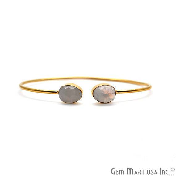 Rainbow Moonstone 12x8mm Pears Shape Gold Plated Handmade Adjustable Bangle Bracelet (RMBA-19049)