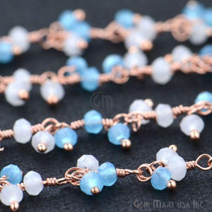 White & Blue Chalcedony Faceted Beads Rose Gold Plated Dangle Rosary Chain