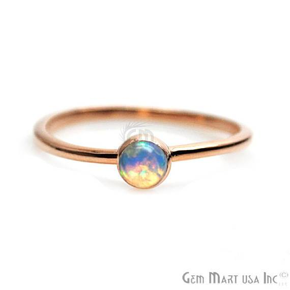 white opal gemstone gold ring