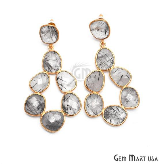 Rutilated Earring Component, Gemstone Component, Gold Plated Component Stud Dangle Earring (RUER-90167)