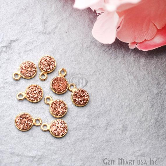 Jewelry Making Supplies 6mm Round Connector Silver Bail Connector Rose Gold Druzy Connector RZ-11256 GemMartUSA