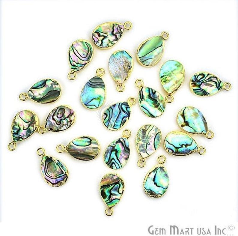 Abalone Shell 10x14mm Pear Shape Single Bail Gold Edge Connector