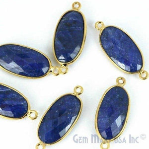 Oval 10x20mm Gold Bezel Double Bail Gemstone Connector