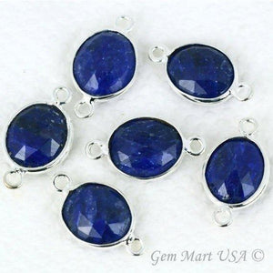 Oval 10x12mm Double Bail Silver Bezel Gemstone Connector (Pick Lot Size)