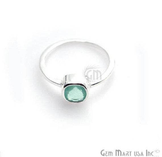 Silver Plated Cushion Shape Single Gemstone Solitaire Ring (Pick your stone and size) (SP-12008)