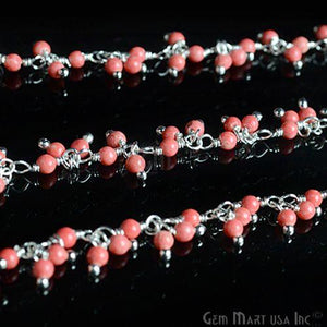 Red Coral Cluster Beads Silver Wire Wrapped Dangle Rosary Chain