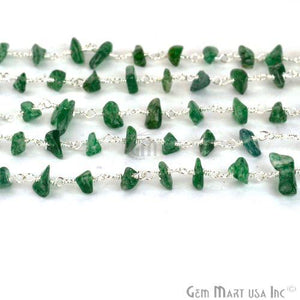 Aventurine Nugget Chip Beads Silver Plated Wire Wrapped Chain