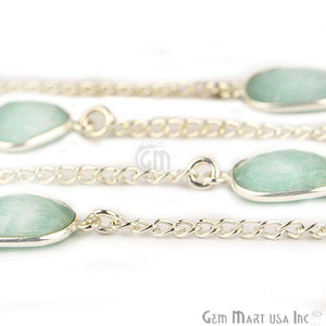 Amazonite 10-15mm Silver Plated Link Bezel Connector Chain