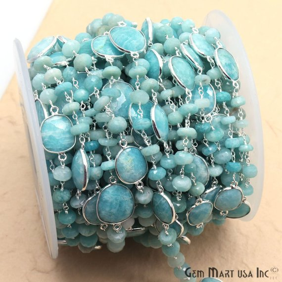 Amazonite Beads & Bezel Connector 6-7mm Silver Plated Rosary Chain