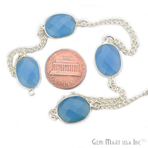 Blue Chalcedony Mix Shape 10-15mm Silver Plated Bezel Connector Chain