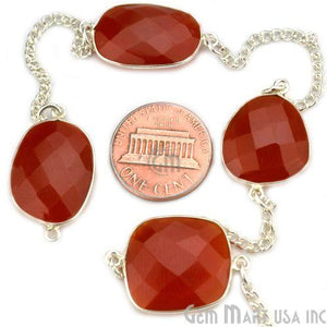 Carnelian 15mm Silver Plated Bezel Link Connector Chain