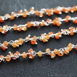 Carnelian Silver Plated Wire Wrapped Cluster Dangle Rosary Chain