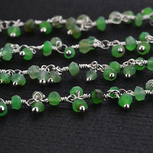 Chrysoprase Faceted Beads Silver Wire Wrapped Cluster Dangle Rosary Chain