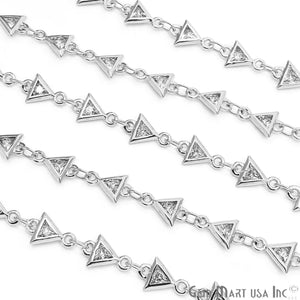 White Zircon Triangle Shape 5x5mm Silver Plated Continuous Connector Chain - GemMartUSA