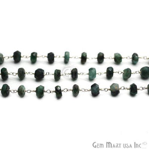 Emerald Beads Chain, Silver Plated Wire Wrapped Rosary Chain