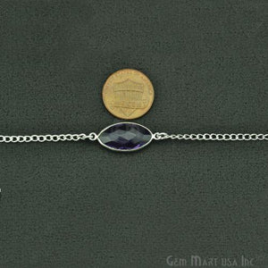 Amethyst 10-15mm Silver Plated Link Bezel Connector Chain