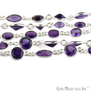 Amethyst 10mm Mix Shape Silver Plated Continuous Connector Chain