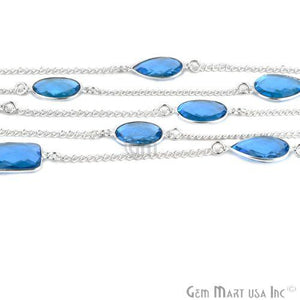 Blue Topaz 15mm Silver Plated Bezel Link Connector Chain