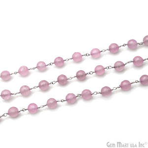 Light Pink Jade 8mm Silver Plated Round Faceted Rosary Chain