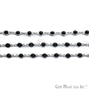 Black Zircon 4mm Round Silver Plated Bezel Rosary Chain